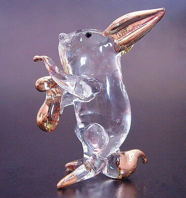 Curio Glass RABBIT BUNNY HARE Gold Painted Clear Glass Animal Glass Ornament
