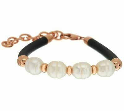 Honora Cultured Pearl 10.0mm Station Leather Bronze Bracelet