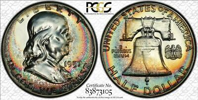 1957 PCGS PR67 Franklin Proof 2 Sided RAINBOW COLOR Toning UNIQUE Tone!  LOOK!