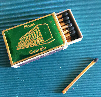 PRESIDENT JIMMY CARTER-Plains Georgia- Wooden Matches-Green Metalic Embossed Top