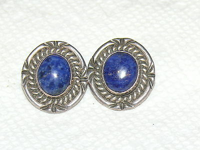 Vintage Art Deco Sterling Silver 925 Blue Lapis Clip On Earrings 14 Grams