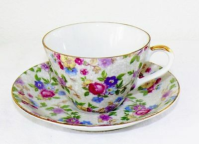 Antique A Marilyn Exclusive 2 Piece Cup & Saucer Set Pink Roses Consco Japan