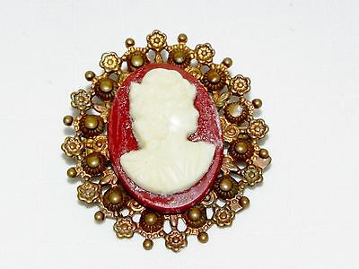 Antique Victorian Molded Celluloid Cameo Gold Gilded Brass Brooch Old