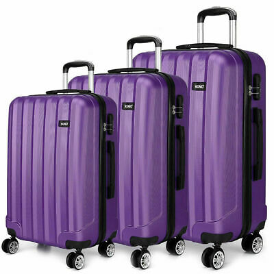 """New Travel Luggage 4 Wheels Trolley Suitcase Bag Hard Shell Hand Case Purple 24"""""""