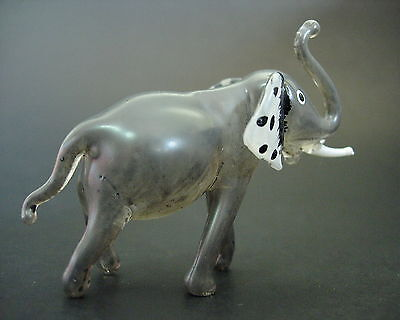 Glass ELEPHANT, Painted Grey Body & White Tusks African Glass Animal Figure Gift