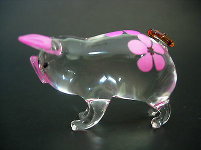 Glass PIG PIGLET Glass Ornament Clear Glass Pink Floral Painted Glassware Animal