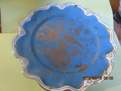 Coalport English China, Cairo Gold On Medium Blue  White Scalloped Dinner Plate