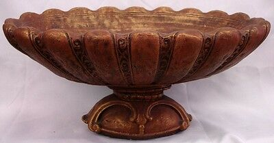 Vintage Scallop Urn Center Piece Vase Antique Terracotta Color Ornate Planter