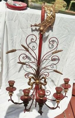 Vintage Gold & Red Gothic, Medieval Sword & Wheat Wall 5 Candle Sconce