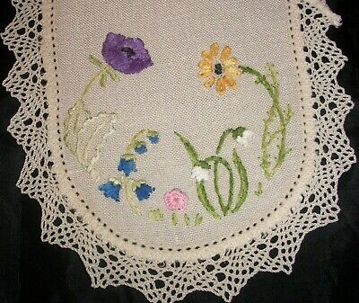 Sandwich Doily Hand Embroidered Vintage Flowers