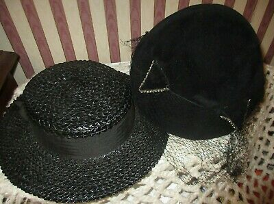 **vintage Mid Century Pair Of Women Hats Cap With Netting & Boater**