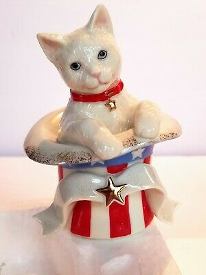 LENOX Fourth of July Surprise Patriotic Cat NEW IN BOX