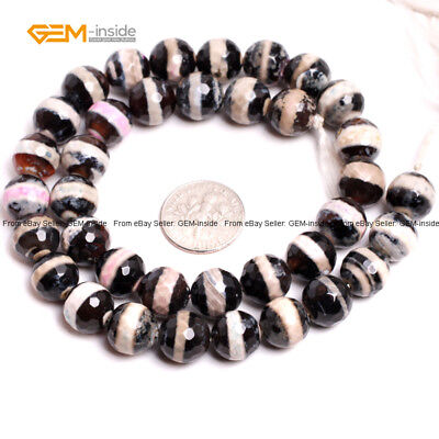 """Round Faceted Mixed Color Evileye Agate Loose Beads For Jewelry Making 15"""" DIY"""