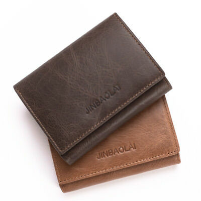 Genuine Leather Credit Card Holder Wallet Bifold ID Cash Coin Purse Clutch Mens