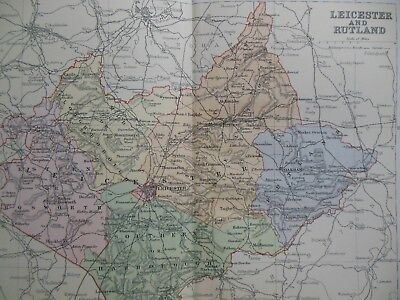 Victorian Colour Map of Leicestershire & Rutland (c1894) British Topography