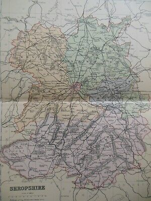Victorian Colour Map of Shropshire (c1894) British Topography, Welsh Borders