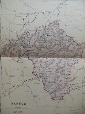 Victorian Colour Map of Radnor (c1894) British Topography, Mid Wales/Radnorshire