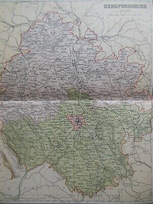 Victorian Colour Map of Herefordshire (c1894) England, Hereford, Leominster
