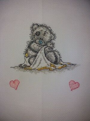 Personalised Completed Cross Stitch Baby Birth Sampler Bedtime Tatty Ted Pink