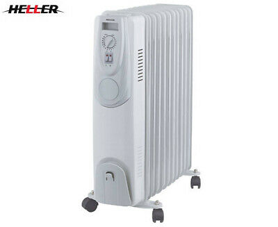 Heller 2400W Electric Portable 11-Fin Oil Heater - White