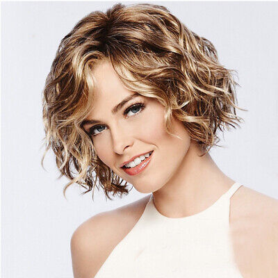 Fashion Women's Blonde Mix Short Curly Wavy Ladies Cool Style Hair Wig Full Wigs