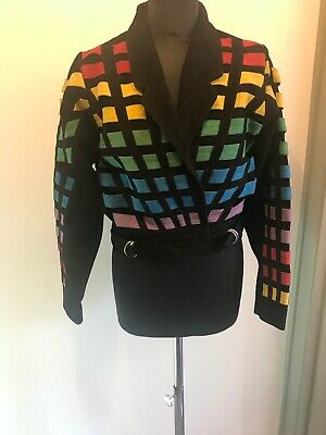 Topshop Multicoloured Leather Jacket Size 6 Read Description