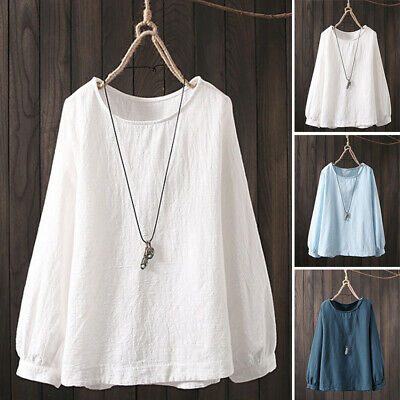ZANZEA 8-24 Women Plus Size Loose Baggy Solid Plain Top Tee Shirt Cotton Blouse