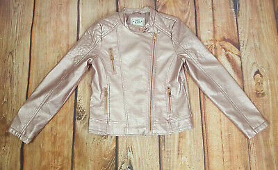 Marks & Spencer 11-12 Years Pink Faux Leather Jacket Rose Gold Hardwear M&S Kids