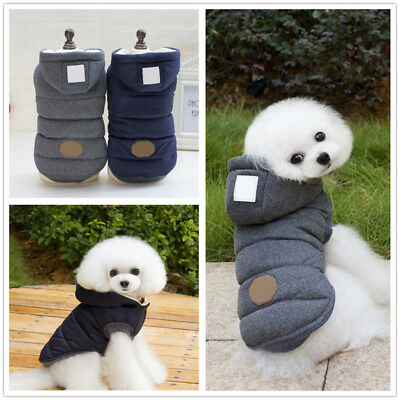 Pet Dog Cat Winter Warm Clothes Pullover Hooded Padded Coat Vest Jacket Overcoat