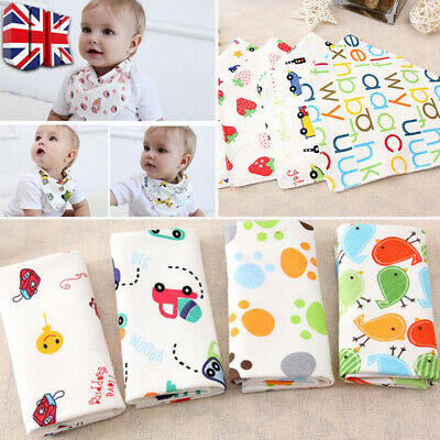 5 Pack Baby Newborn Bibs Bandana Drool Bib Pinny Gift Set Reversible & Soft UK