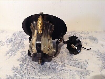 Vintage French Hooded Lantern Wrought Iron Style Pendant Ceiling Light (1491)