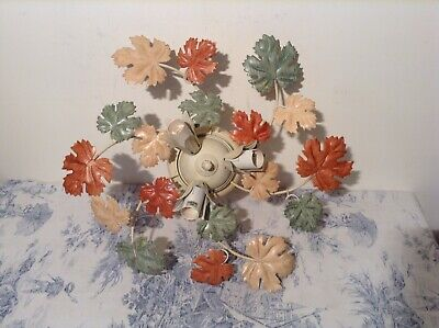 French/Italian Style Tole Ceiling Triple Light - Toleware Autumn Leaves (2396)