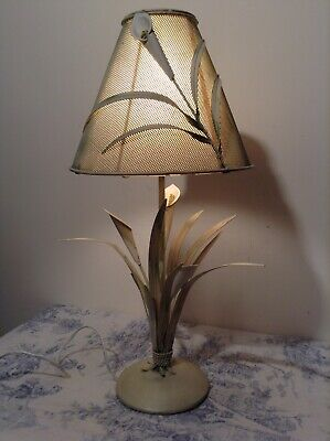 French / Italian Style Tole Table Lamp - Toleware Bedside Light Lilies (1985)