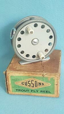 "Scarce 1950s Cussons Estuary 3.5"" Alloy Narrow Drum Trout Fly Reel w Orig Box"