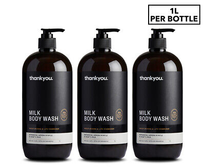 3 x Thankyou. Lemon Myrtle & Goat's Milk Body Wash 1L