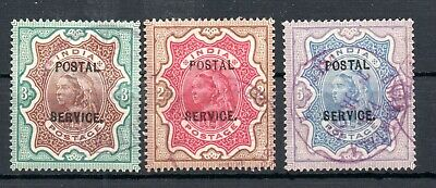 INDIA , 1895 , HIGH DEFINITIVES overprinted : POSTAL SERVICE , USED , LOOK !