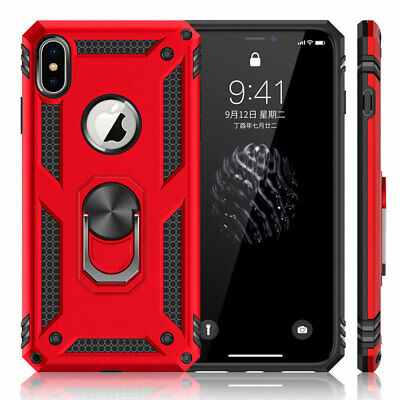 Shockproof Hybrid Armor Case for iPhone XS Max XS XR X 7 8 Plus Ring Stand Cover