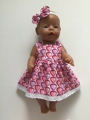 "DOLLS CLOTHES FOR 17"" BABY BORN~CABBAGE PATCH Pink & Mauve Hearts~Dress~Headband"
