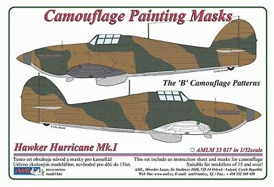 "AML 1/32 Hawker Hurricane Mk.I The ""B"" Camouflage Patterns Painting Masks # M331"