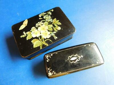 2x Victorian Papier-mâché Snuff Boxes Pearl Inlay & Butterfly 1880s