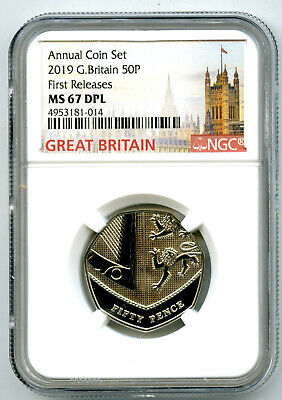 2019 Great Britain 50P Ngc Ms67 Dpl Deep Proof Like First Releases Rare