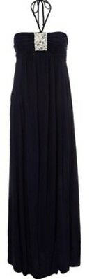 Monsoon Anya Jersey Bandeau Maxi Dress Navy Embellished Discs Size Large Bnwt
