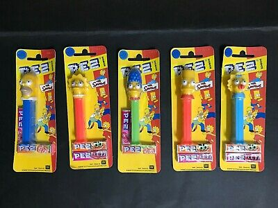 THE SIMPSONS PEZ ORIGINAL SET OF 5 FROM 1990's
