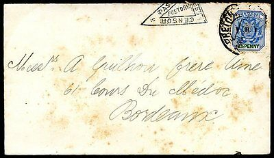BRITISH TRANSVAAL TO FRANCE - BOER WAR Censored Cover 1901 VF