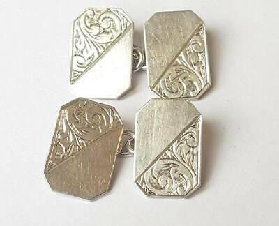 Antique Edwardian Sterling Silver Engraved Cufflinks