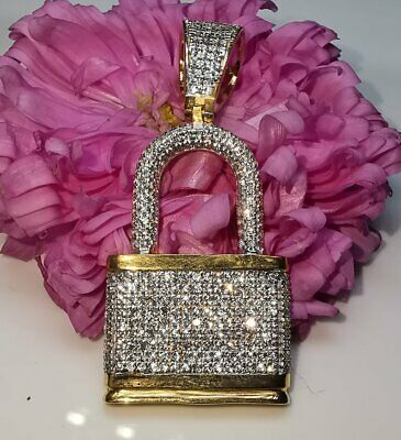 1.50CT Round-Cut Diamond Fancy Without Chain Lock Pendant 10k Real Yellow Gold