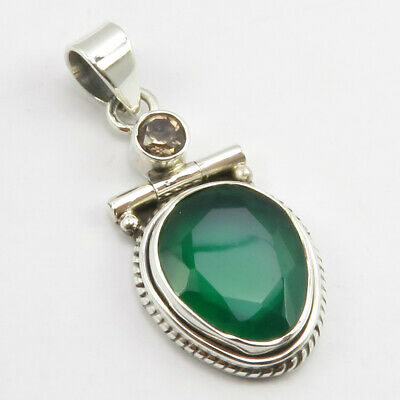 Solid Sterling Silver Smoky Quartz, Green Onyx Necklace Pendant Fashion Jewelry
