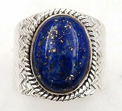 Wonderful Art Gold In Lapis Lazuli 925 Sterling Silver Ring Jewelry Sz 8.5,C21-9