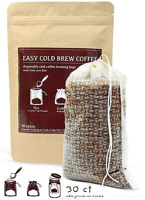 No Mess Cold Brew Coffee Filters - Easy, Single Use Filter Sock Packs, Dispos...