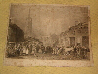 ANCIENNE GRAVURE print 17 ou 18 eme siecle LOUTH lincolnshire england angleterre